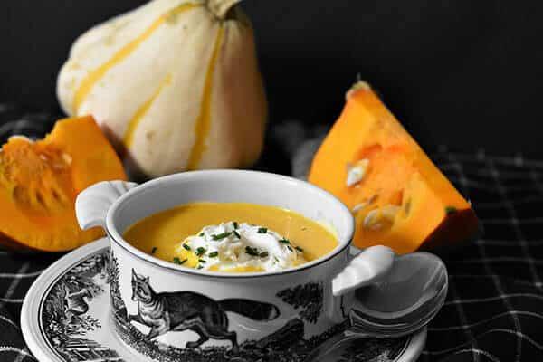 Spiced Pumpkin (or butternut squash) and Sweet Potato Soup